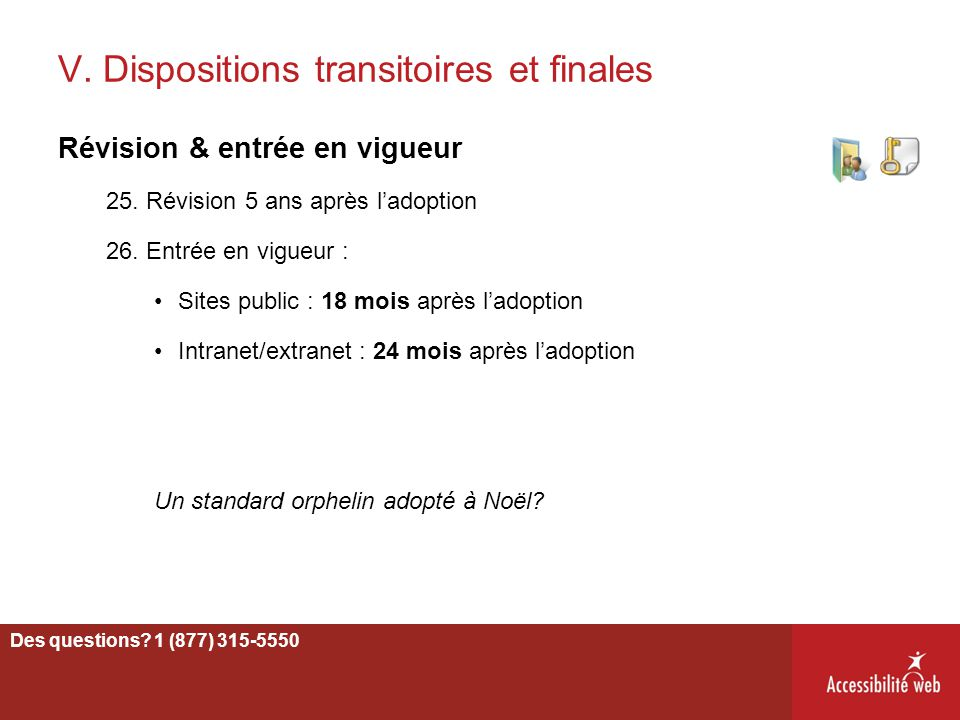 V. Dispositions transitoires et finales
