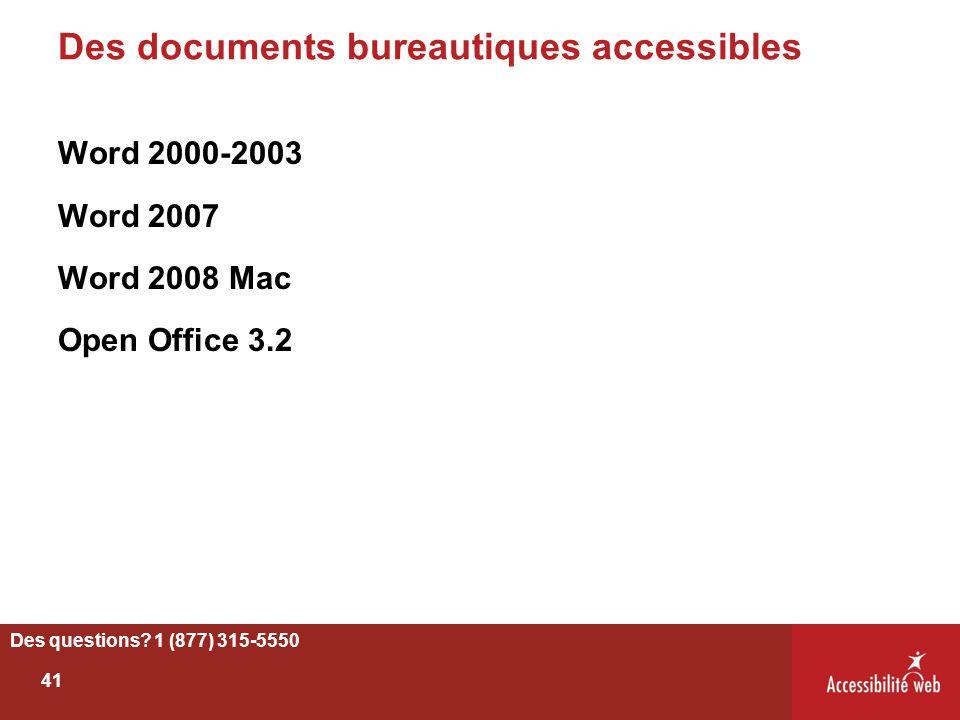 Des documents bureautiques accessibles