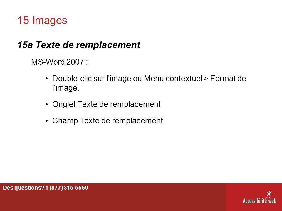 15 Images 15a Texte de remplacement MS-Word 2007 :