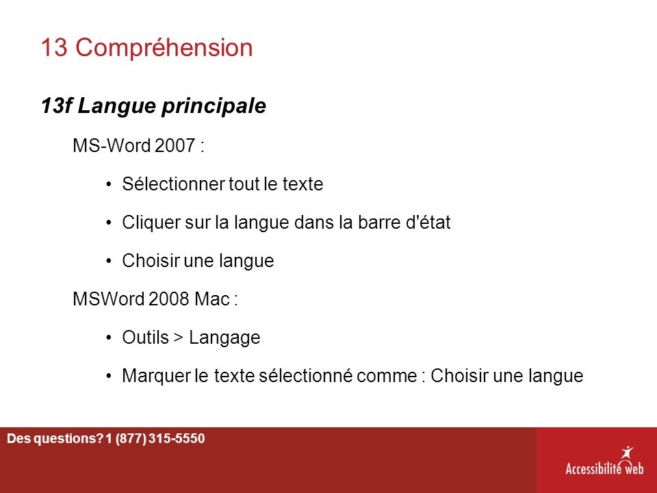 13 Compréhension 13f Langue principale MS-Word 2007 :
