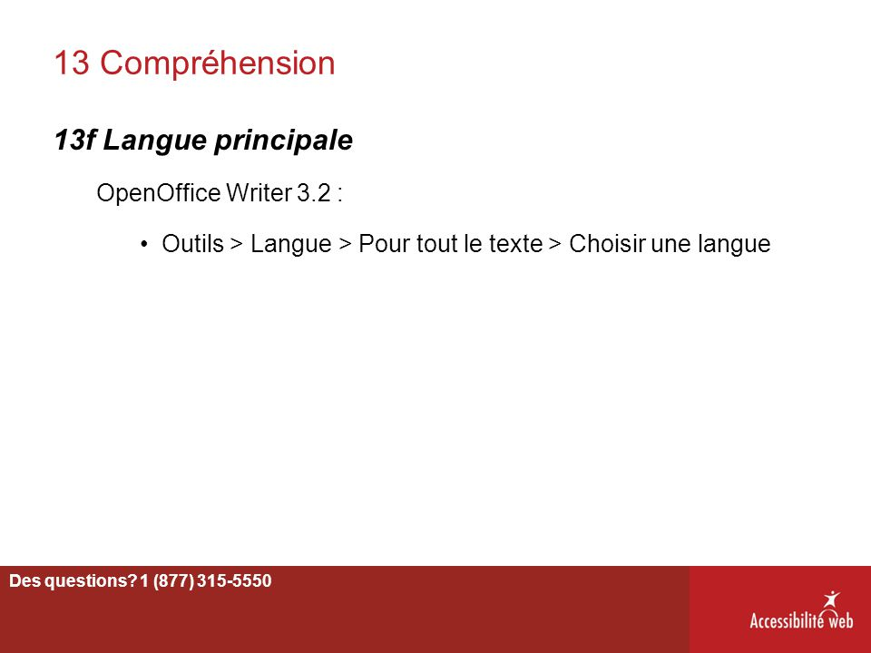 13 Compréhension 13f Langue principale OpenOffice Writer 3.2 :