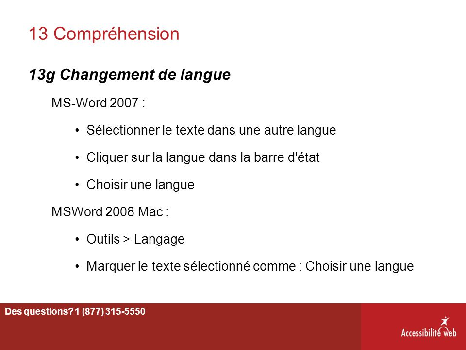 13 Compréhension 13g Changement de langue MS-Word 2007 :