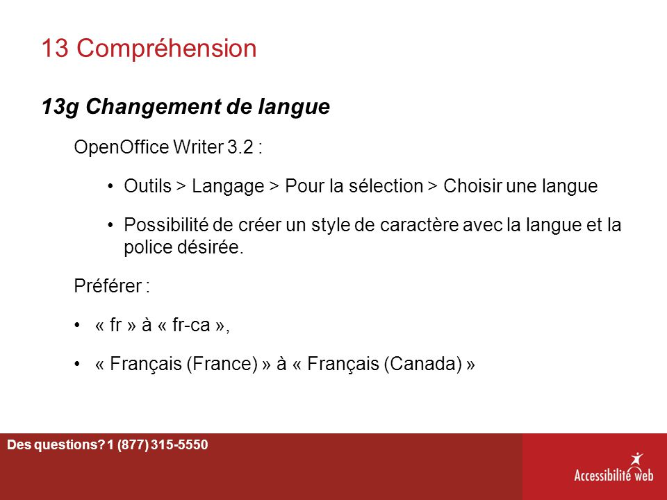 13 Compréhension 13g Changement de langue OpenOffice Writer 3.2 :