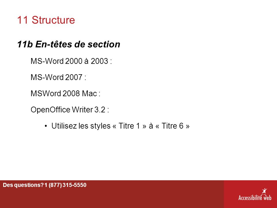 11 Structure 11b En-têtes de section MS-Word 2000 à 2003 :