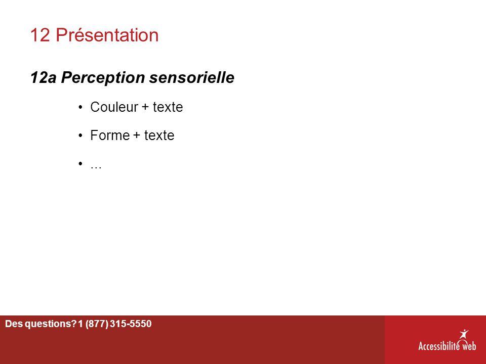 12 Présentation 12a Perception sensorielle Couleur + texte