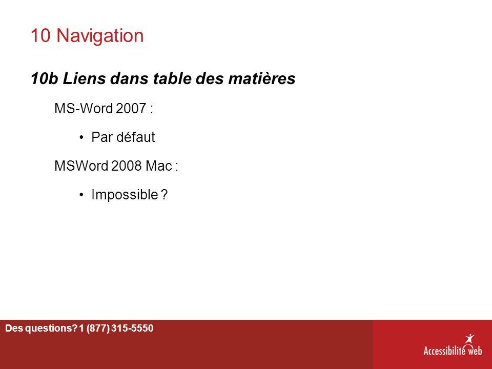 10 Navigation 10b Liens dans table des matières MS-Word 2007 :