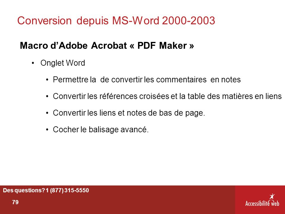 Conversion depuis MS-Word 2000-2003
