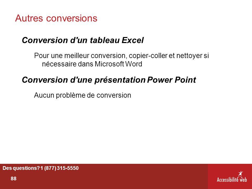 Autres conversions Conversion d un tableau Excel