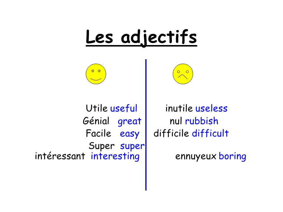 Les adjectifs Utile useful inutile useless Génial great nul rubbish