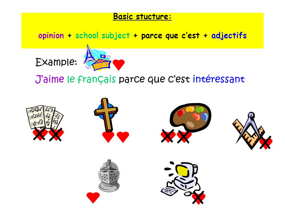 Basic stucture: opinion + school subject + parce que c'est + adjectifs