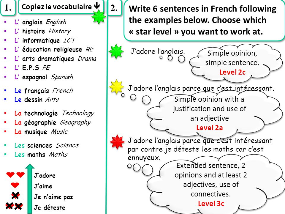1. Copiez le vocabulaire  2. Write 6 sentences in French following the examples below. Choose which « star level » you want to work at.