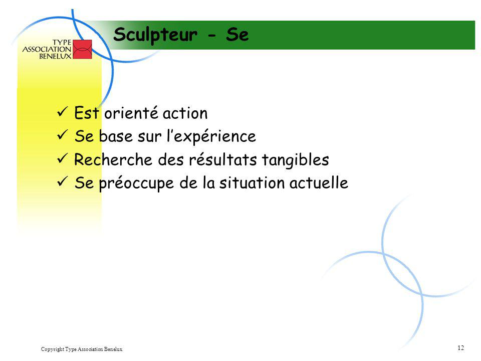 Sculpteur - Se Est orienté action Se base sur l'expérience