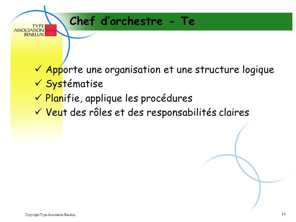 Chef d'orchestre - Te Apporte une organisation et une structure logique. Systématise. Planifie, applique les procédures.