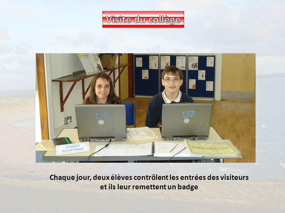 Visite du collège Chaque jour, deux élèves contrôlent les entrées des visiteurs et ils leur remettent un badge.