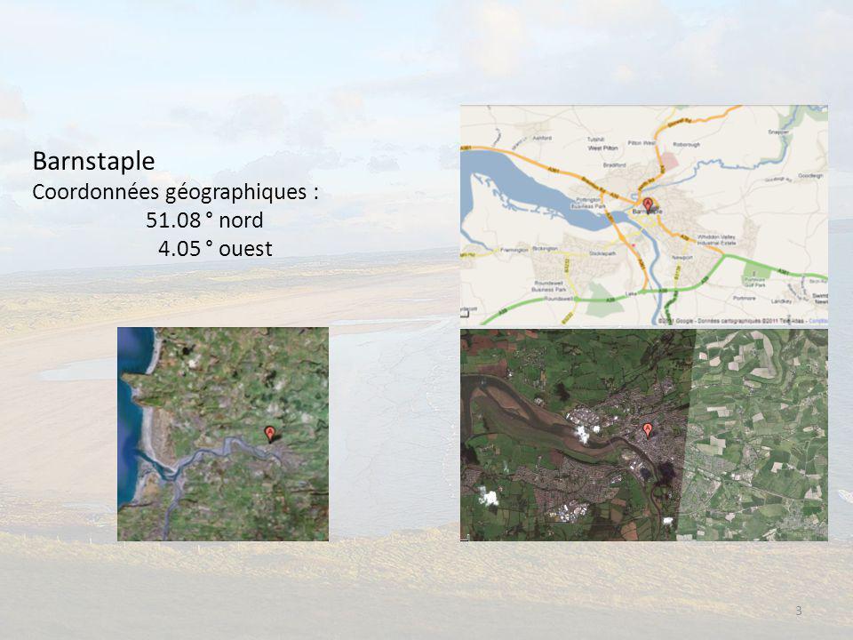 Barnstaple Coordonnées géographiques : 51.08 ° nord 4.05 ° ouest