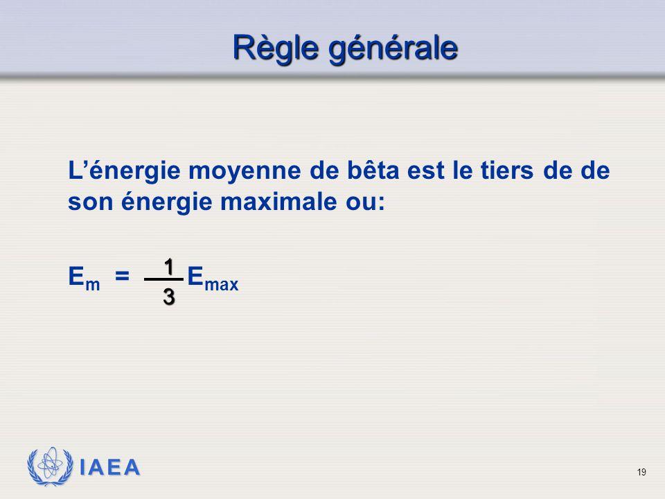 Règle générale L'énergie moyenne de bêta est le tiers de de son énergie maximale ou: Em = Emax.