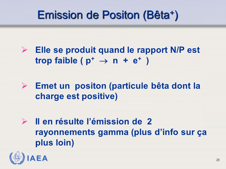 Emission de Positon (Bêta+)