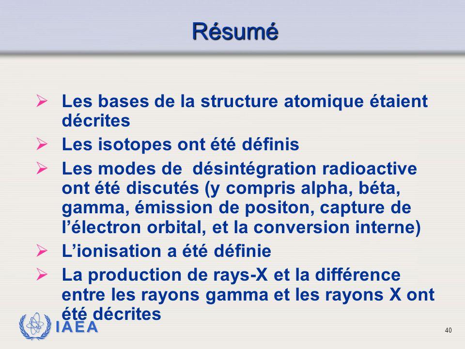 Résumé Les bases de la structure atomique étaient décrites