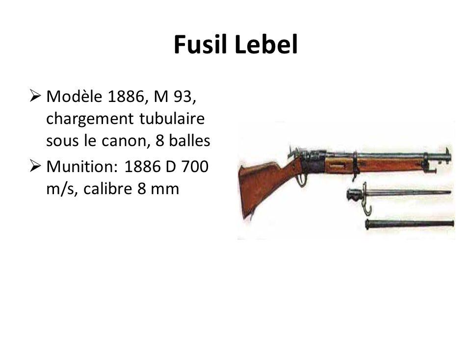 Fusil Lebel Modèle 1886, M 93, chargement tubulaire sous le canon, 8 balles.