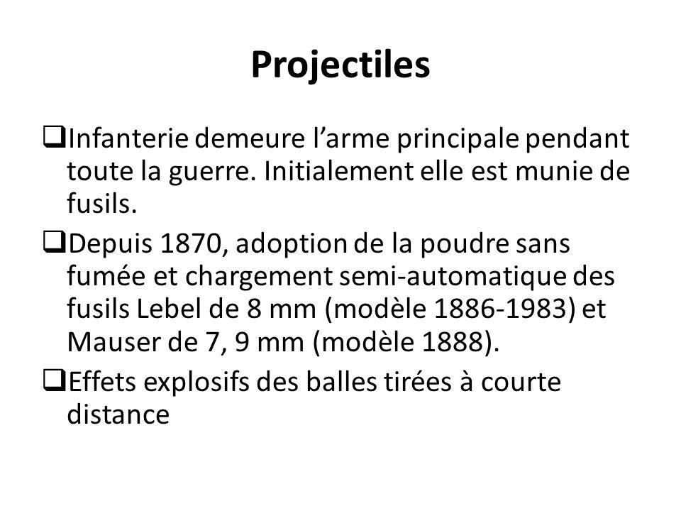Projectiles Infanterie demeure l'arme principale pendant toute la guerre. Initialement elle est munie de fusils.
