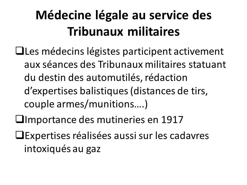 Médecine légale au service des Tribunaux militaires