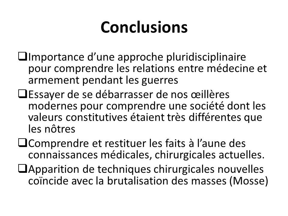 Conclusions Importance d'une approche pluridisciplinaire pour comprendre les relations entre médecine et armement pendant les guerres.
