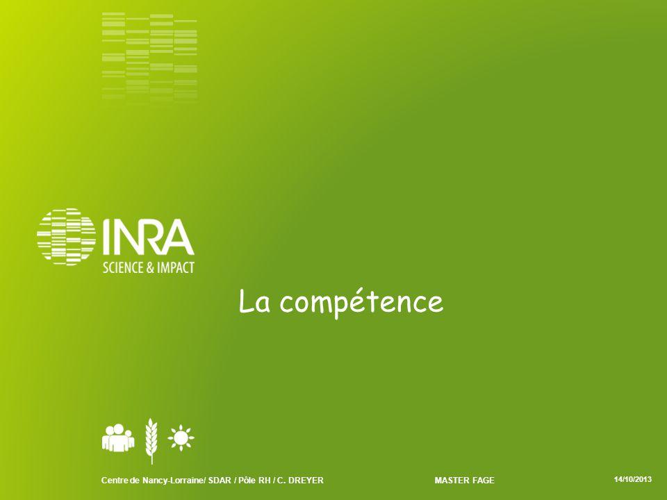 La compétence Centre de Nancy-Lorraine/ SDAR / Pôle RH / C. DREYER MASTER FAGE 14/10/2013