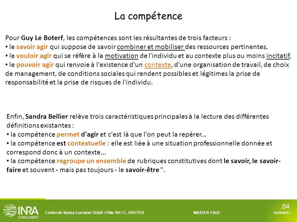 La compétence Pour Guy Le Boterf, les compétences sont les résultantes de trois facteurs :
