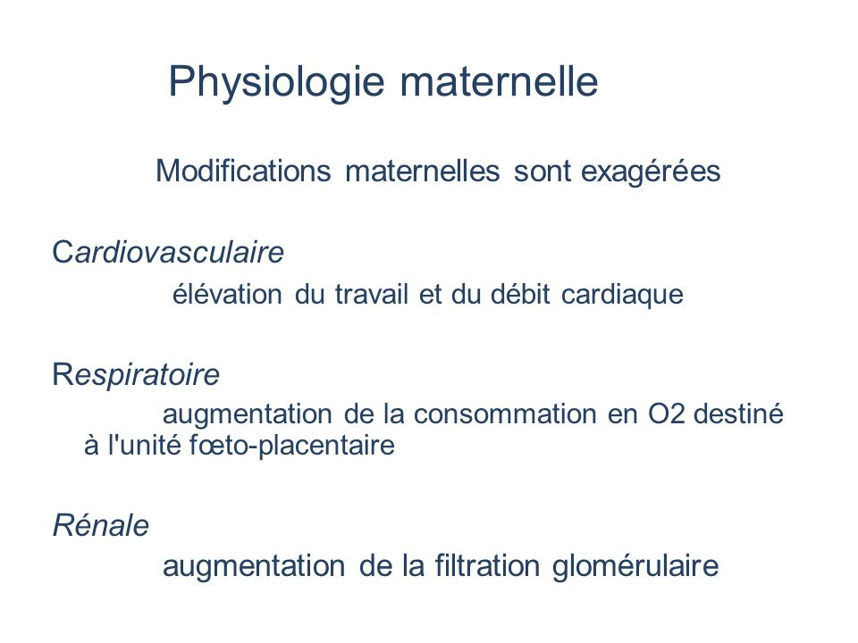 Physiologie maternelle