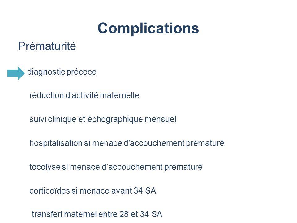 Complications Prématurité diagnostic précoce