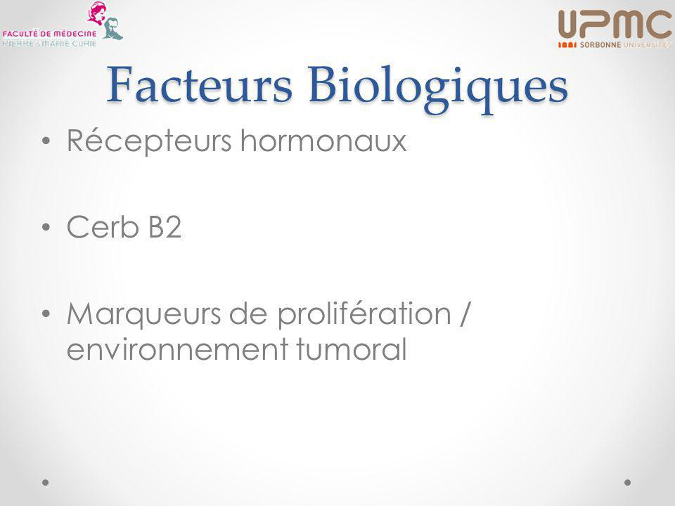 Facteurs Biologiques Récepteurs hormonaux Cerb B2