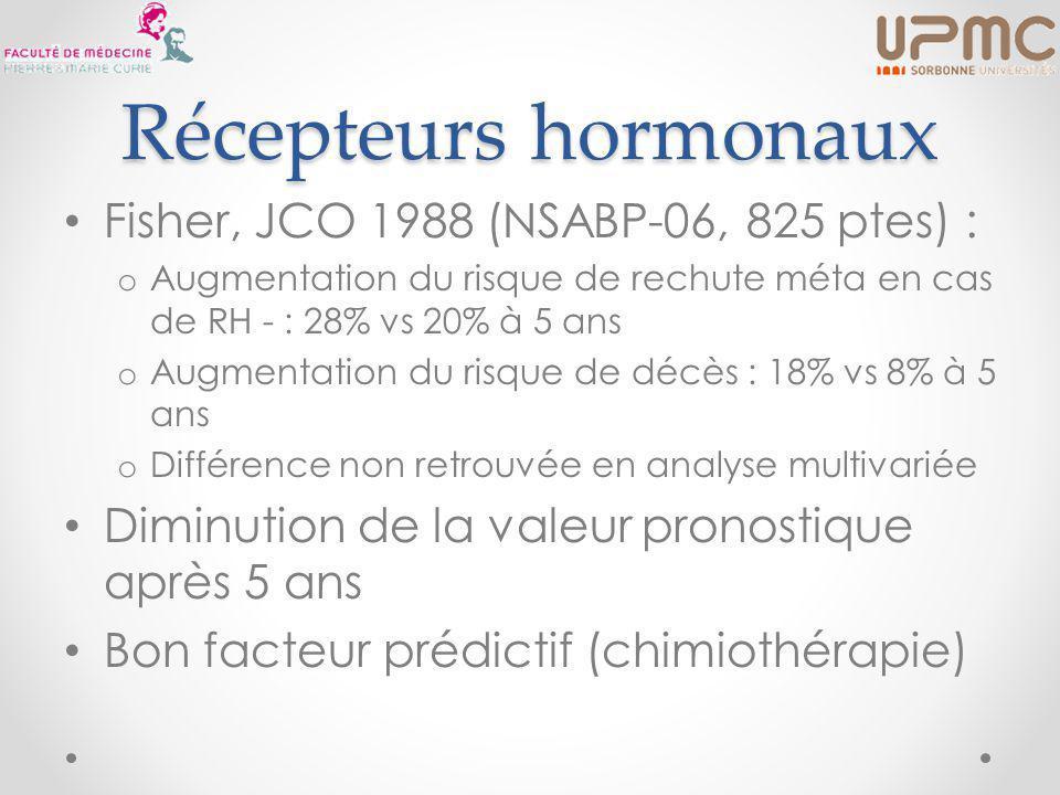 Récepteurs hormonaux Fisher, JCO 1988 (NSABP-06, 825 ptes) :