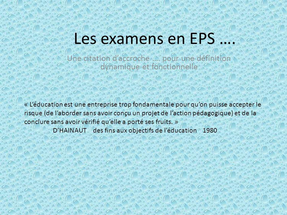 Les examens en EPS …. Une citation d'accroche …. pour une définition dynamique et fonctionnelle.