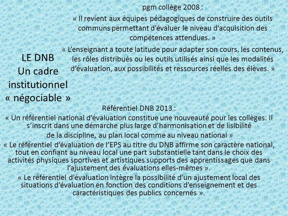 LE DNB Un cadre institutionnel « négociable »