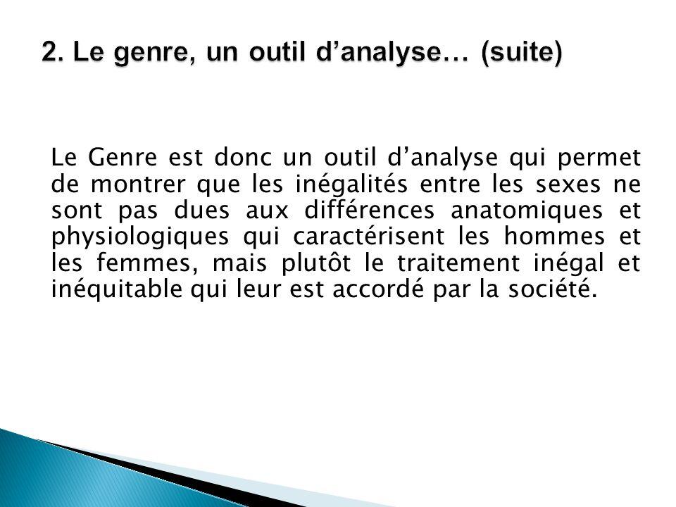 2. Le genre, un outil d'analyse… (suite)