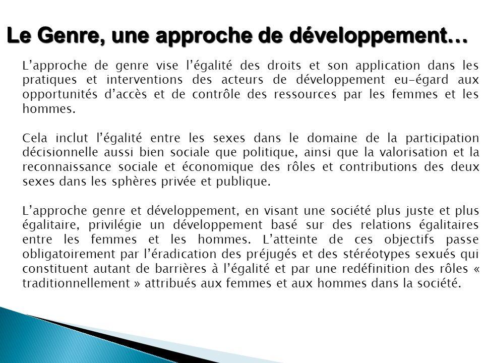 Le Genre, une approche de développement…