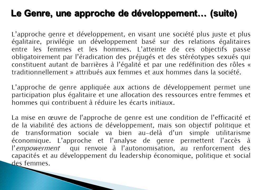 Le Genre, une approche de développement… (suite)