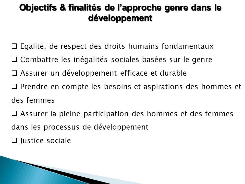 Objectifs & finalités de l'approche genre dans le développement