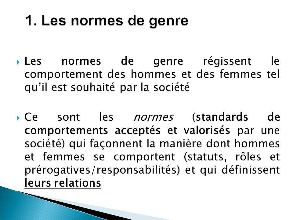 1. Les normes de genre Les normes de genre régissent le comportement des hommes et des femmes tel qu'il est souhaité par la société.