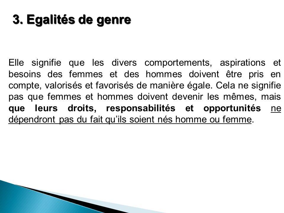 3. Egalités de genre