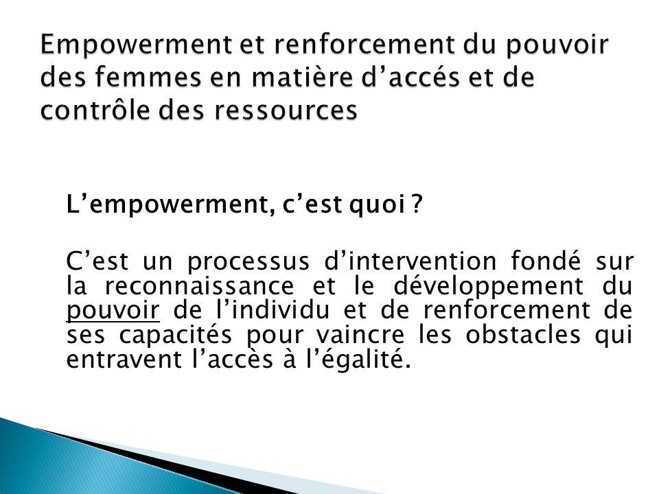 Empowerment et renforcement du pouvoir des femmes en matière d'accés et de contrôle des ressources