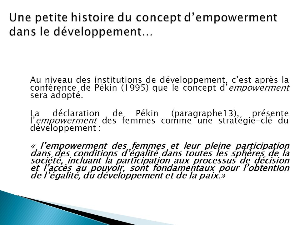 Une petite histoire du concept d'empowerment dans le développement…