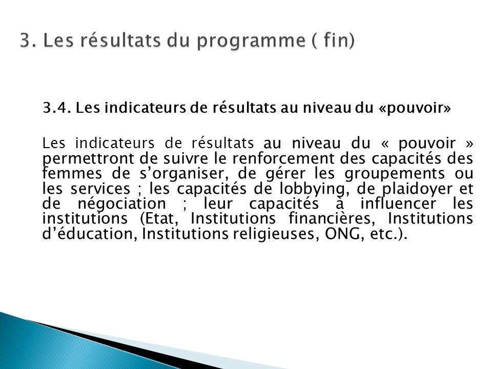 3. Les résultats du programme ( fin)