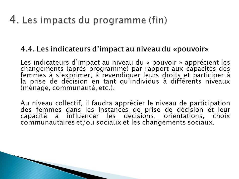 4. Les impacts du programme (fin)