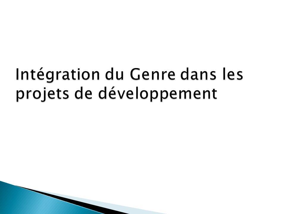 Intégration du Genre dans les projets de développement