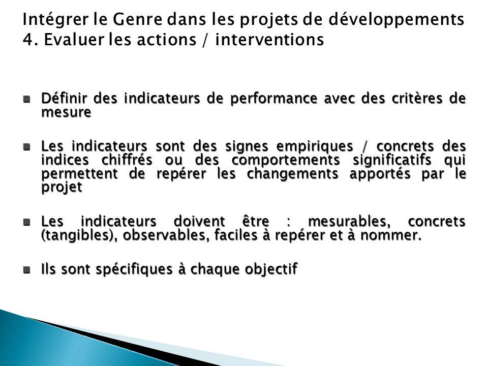 Intégrer le Genre dans les projets de développements