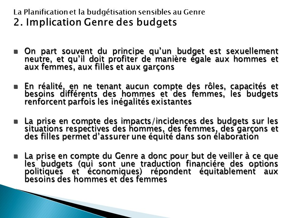 2. Implication Genre des budgets