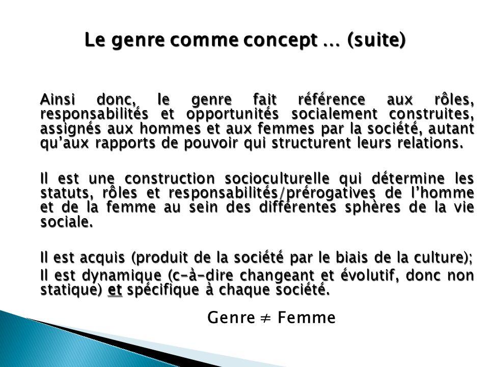 Le genre comme concept … (suite)