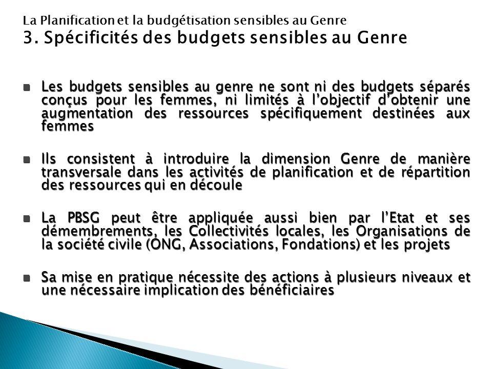 3. Spécificités des budgets sensibles au Genre