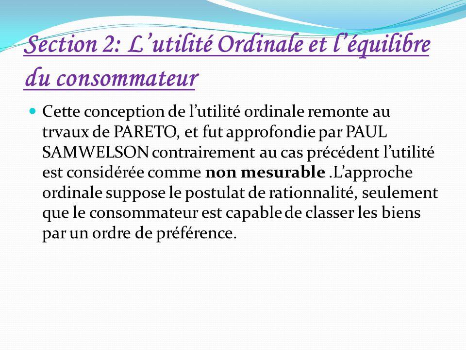 Section 2: L'utilité Ordinale et l'équilibre du consommateur